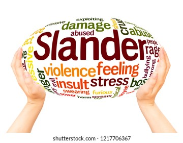 Slander word cloud hand sphere concept on white background.