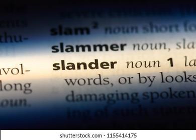 slander word in a dictionary. slander concept.