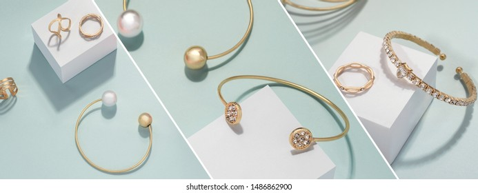 Slanted jewelry photography collage on bright green background