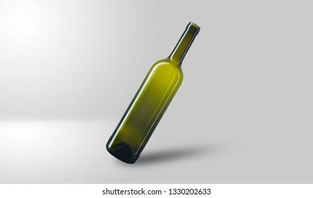 Slanted wine bottle, isolated on a grey background, no label