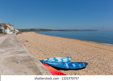 Slapton Sands beach near Torcross Devon England UK with canoes