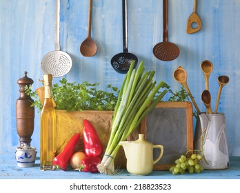 slate for cooking recipes, kitchen utensils, food ingredients, free copy space, cooking concept
