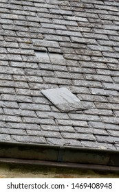 Slate detached from the roof of an house