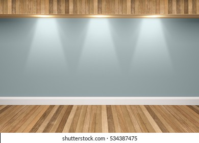 Slate gray colors wall & wood floor interior with light spots,3D illustration