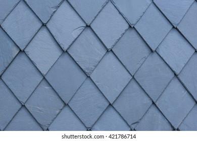 Slate at house - slate roof and slate facade background