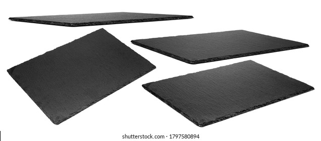 Slate plate isolated on white background. Kitchen stone tray for food. Set of empty black granite stone rectangle board.