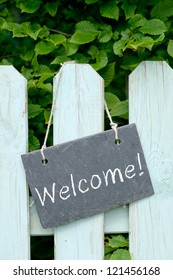 Slate with text: Welcome