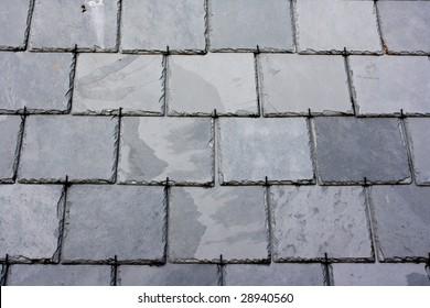 Slate tile roof.