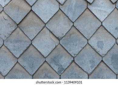 Slate tiles on the house wall