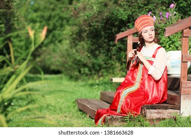 Slav woman in dress traditional