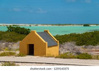 Slave huts historical monument on Bonaire, Dutch Caribbean