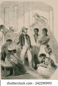 Slave market in the United States in the 1850s. There was a vigorous internal slave trade, with wealthy traders who transported slaves to the newly opened lands west of the Mississippi river.