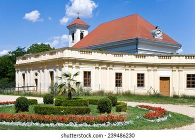 SLAVKOV, CZECH REPUBLIC - JUNE 19 - baroque castle (national cultural landmark) on June 19, 2014  in Slavkov - Austerlitz near Brno, South Moravia, Czech republic