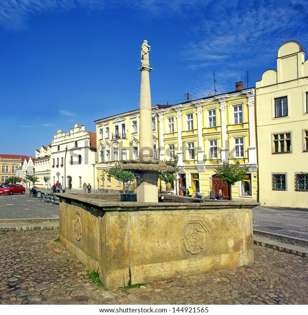 SLAVONICE, CZECH REPUBLIC - JULY 23: Fountain and Renaissance houses at Slavonice on July 23, 2003. Properties submitted on the Tentative List of UNESCO World Heritage Sites