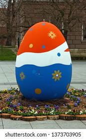 SLAVONSKI BROD, CROATIA - MARCH 27, 2018: Easter egg located in center of Slavonski Brod, Croatia