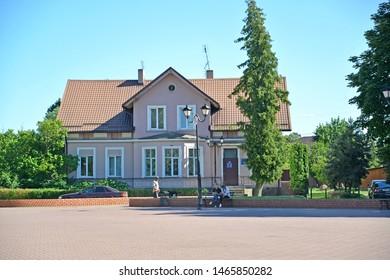 SLAVSK, RUSSIA - JUNE 22, 2019: The house with the mezzanine on Shkolnaya Street. Kaliningrad region