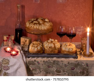 Slavski kola?. Slava cake is a dish prepared for slava - Serbian Orthodox Christian tradition that celebrates a family's patron saint.