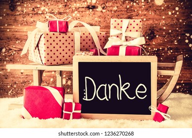 Sled With Gifts, Calligraphy Danke Means Thank You