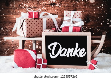 Sled With Gifts, Danke Means Thank You, Snow
