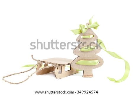 Sledge Christmas Tree Isolated On White Stock Photo Edit Now