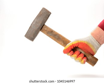 sledgehammer in hand on white background