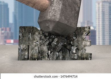 Sledgehammer hitting RULE 3d concrete word cracked on table with cityscape background. Concept of breaking convention and impossible, change and innovation.
