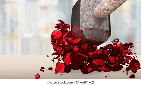 Sledgehammer smashing red percentage sign cracked on wooden table with blur background.