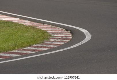 sleek asphalt on the corner of the motorbike track, motoGP