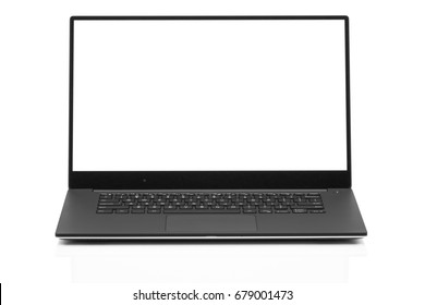 Sleek modern business laptop isolated on white background with reflection