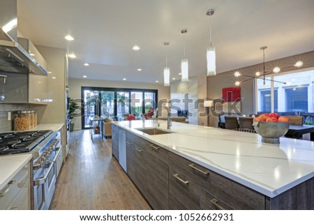 modern sleek kitchen design sleek modern kitchen design island fitted stock photo 7769