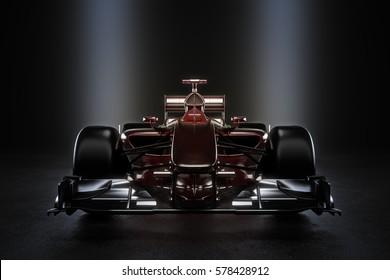 Sleek team motor sports racing car with studio lighting. 3d rendering illustration