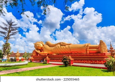 sleep  buddha in temple Vientiane, Laos , They are public domain or treasure of Buddhism, no restrict in copy or use