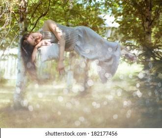sleep, spring, girl, spring, summer, nature, ease of flight
