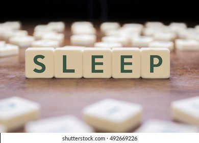 SLEEP word on block concept