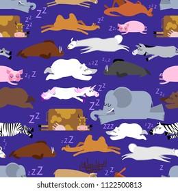 Sleeping animals seamless pattern. Seal and deer. Crocodile and camel. Zebra and bear. Walrus and kangaroo. Unicorn and Polar Bear. Cow and llama. Donkey, elephant and pig. wild animal sleeps ornament