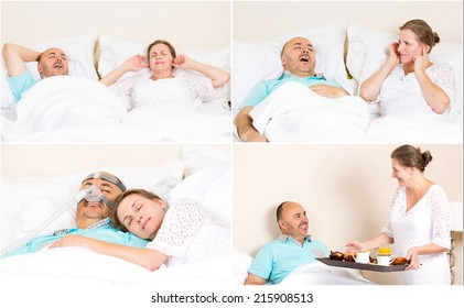 Sleeping apnea, snoring, stress. Peaceful nights, happy morning with CPAP machine, devise, of middle aged couple. Healthcare management patient of sleep apnea. Human respiratory airway system health