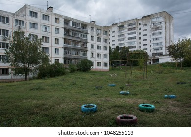 The sleeping area with apartment buildings built in the period of the USSR