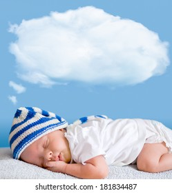 sleeping baby closeup portrait with dream cloud for image or text