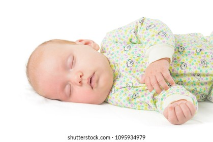 sleeping baby shot on white background