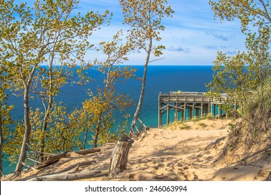 Sleeping Bear Dunes. Overlook from the top of Sleeping Bear Dunes with the crystal clear waters of Lake Michigan as the backdrop.