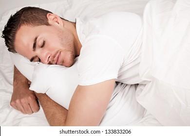 sleeping beautiful man