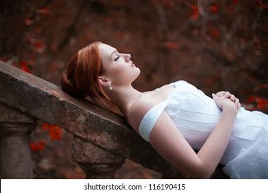 sleeping beauty bride on stairs