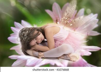 Sleeping beauty fairy on lily flower