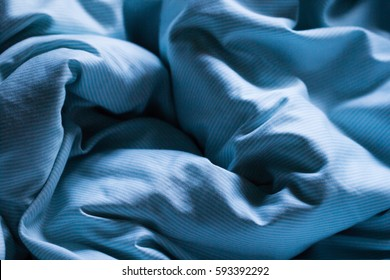 Sleeping Blue Bed Sheet Covered In Morning Or Evening Gentle Sunlight As  Relaxation Romantic Soft Background