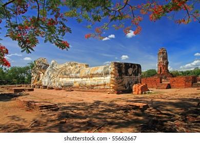 Sleeping Buddha. Ayutthaya Thailand