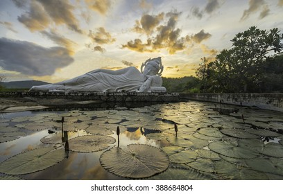 Sleeping Buddha and belfry on sunset at Hua-Hin,Thailand