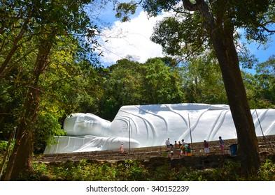 sleeping buddha in forest in Vietnam
