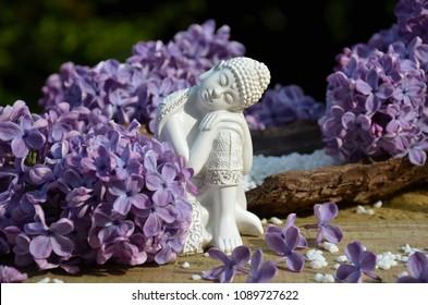 Sleeping Buddha with lilac