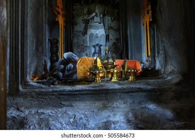 Sleeping Buddha in main gopura tower of Angkor Wat,  Cambodia