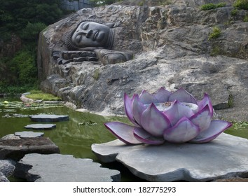 sleeping buddha statue near the lotus pond